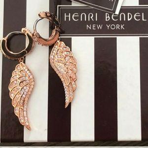 Rose gold pave angel wing huggie earrings